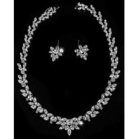 Polly CZ Marquise Cluster Necklace Set