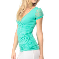 Jade Lace Sleeves Ruched Top