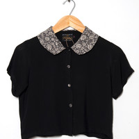 Motel Vintage Andy Collared Crop Blouse 0131 ONE SIZE