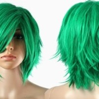 HealthTop Short Green Heat Resistance Cosplay Wig Anime Show & Party & Performance Hair Full Wigs