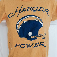 Vintage 1970s San Diego Chargers t-shirt Champion blue bar small NFL