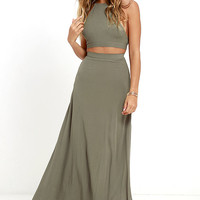 Walking on Heir Olive Green Two-Piece Dress
