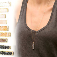 Druzy Bar Necklace in Gold or Silver / Raw Crystal Long Boho Necklace / Bar Pendant with Little Crystals / Boho Long Necklace