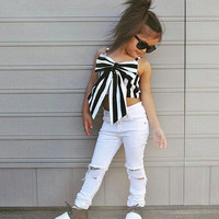 Girls 2 Piece European Style Summer Stripe Top Set
