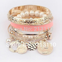 Fashion Bracelets Bangles Sets Women Coins Simulated Pearls Charm Bracelets For Women Bijoux Gold Plated Bangle Fashion Jewelry