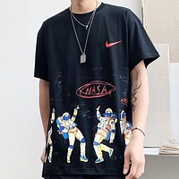 NIKE New fashion hook print couple top t-shirt Black