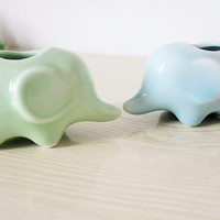 Ceramic Decor : Elephant Plant Pot / Pen Stand / Desk Decor / Animal Figurines