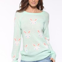 Wildfox Couture Snow Bunny Party Sweater in Teal
