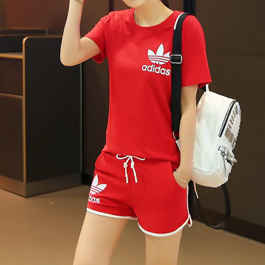 """Image of """"Adidas"""" Summer Fashion Casual Clover Letter Print Short Sleeve Set Two-Piece Sportswear"""