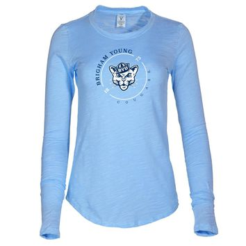 NCAA Brigham Young Cougars - RYLBYU11 Women's Long Sleeve Slub Tee Shirt
