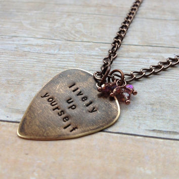 "Metal Guitar Pick ""Lively Up Yourself"" Necklace, Bob Marley Hand Stamped Vintaj"