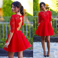 red Homecoming dress,Short prom Dress,lace Prom Dresses, pretty prom dress,backless prom dress,BD912