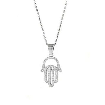 Ben and Jonah 925 Sterling Silver CZ Evil Eye in Hamsa with 18 inch  Link Chain