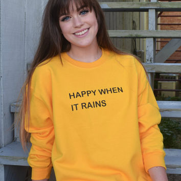 Happy When it Rains Tumblr Saying Fall Sweater- In Yellow and Navy Sweatshirt