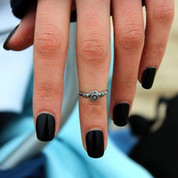 Sterling silver above knuckle ring stack midi ring flower and leaf  knuckle ring - adjustable (T-13)