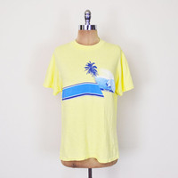 Blue & Yellow T-Shirt Tshirt Surf T-Shirt Surfer T-Shirt Surfing Beach T-Shirt Stripe T-Shirt Soft Thin T-Shirt 80s T-Shirt Men M Medium