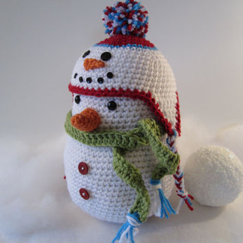 Snowman with Snowman Earflap Hat Cutie Winter Decoration Stuffed Snowman Centerpiece Crocheted by CROriginals