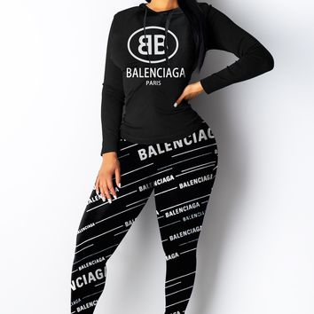 Balenciaga New fashion more letter print long sleeve top and pants two piece suit Black