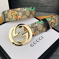 GUCCI New Fashion More Tiger Letter Women Men Leisure Belt