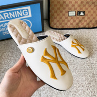 White NY Gucci Embroidered Slippers Summer