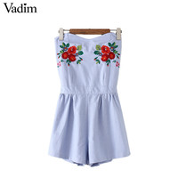 Vadim sexy off shoulder floral embroidery playsuits backless elastic waist rompers ladies causal brand vintage jumpsuits KZ978