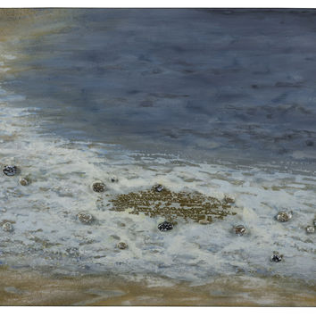 Pebbled Beach Hand Painted High Gloss with Pebble Embellishments on Canvas; Colors will vary slightly