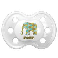 Personalized Blue Green Geometric Elephant BooginHead Pacifier