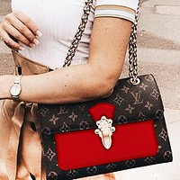 LV fashion lady Dionysus printed patchwork color shoulder bag shopping bag  Coffee print+Red