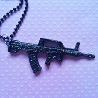 Black gun glitter necklace † Pastel Goth † Soft Grunge † Punk Jewelry † Kawaii † Gothic Lolita † Emo † Scene † Creepy Cute Gift Idea