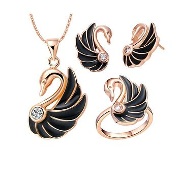 Elegant Fashion Swan Pendant Necklace Earrings, Rings Jewelry Set Women's Engagement Wedding Jewelry