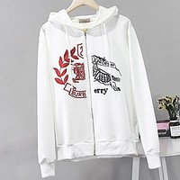 Burberry New fashion embroidery war horse hooded long sleeve sweater coat cardigan White