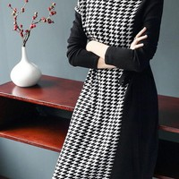 Houndstooth Sweater Dress