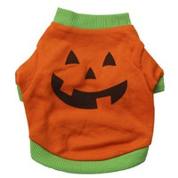 Pets Dogs Orange Pumpkin Costumes Cotton Dog Shirts Puppy Clothes For Halloween