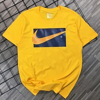 NIKE Summer New Fashion Hook Print Women Men Top T-Shirt Yellow