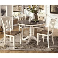 Signature Design by Ashley Whitesburg 5-Piece Dining Set in Brown and Cottage White