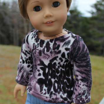 18 inch doll clothes, purple, ivory, black sweater and skinny jeans with lace, american girl ,maplelea