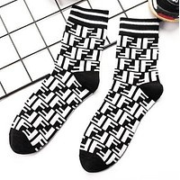 FENDI Autumn Winter Popular Women Men Personality F Letter Cotton Sport Socks Black