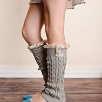 Boot Socks Cable Knit Lace Trim Light Gray Leg Warmers