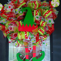 Pre Order Deluxe Elf Wreath, Christmas Wreath, Holiday Wreath, Christmas Decoration
