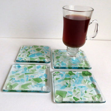 Fused Glass Coasters in Aqua Blue and Lime Green, Statteam