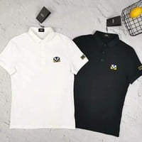 Fendi 2019 new little monster embroidery badge half sleeve polo shirt