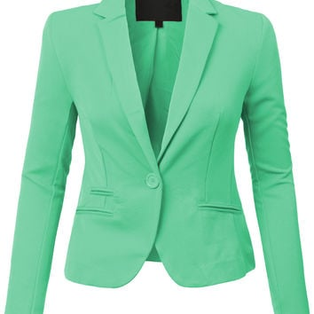 LE3NO Womens Classic Fit Long Sleeve Blazer Jacket with Stretch (CLEARANCE)