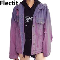 Flectit Autumn Winter Harajuku Ombre Wash Oversized Distressed Denim Jacket For Women Faded Purple Jeans Jacket veste femme