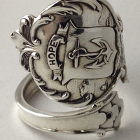 Size 7.58 Sterling Anchor Spoon Ring by NotSoFlatware on Etsy