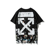 Off White starry fireworks short-sleeved summer Europe and the United States tide brand couple t-shirt men and women with the same paragraph cotton off trend men's clothing
