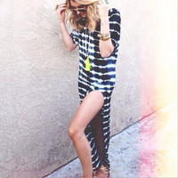 Causal Tie Dyed Stripes Dress