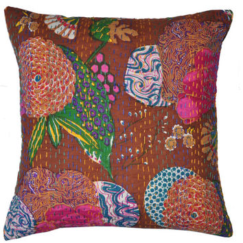 """24"""" Indian Kantha Double Stitched Thread Cushion Pillow Cover Ethnic Vintage Decor Art Kantha Pillow Cover Kantha throw Pillow cushion Cover"""