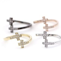 Tiny Sideways Cross with CZ crystals Ring in 4 colors - adjustable cross ring