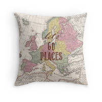 Travel Quote Pillow Cover, Let's Go Places, Wanderlust, Graduation Gift, Bedroom, Vintage Style, World Map, Home Decor, Throw Pillow, Europe