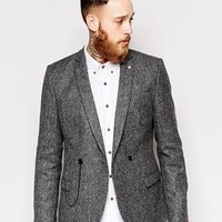 Noose & Monkey   Noose & Monkey Tweed Double Breasted Blazer With Chain In Skinny Fit at ASOS